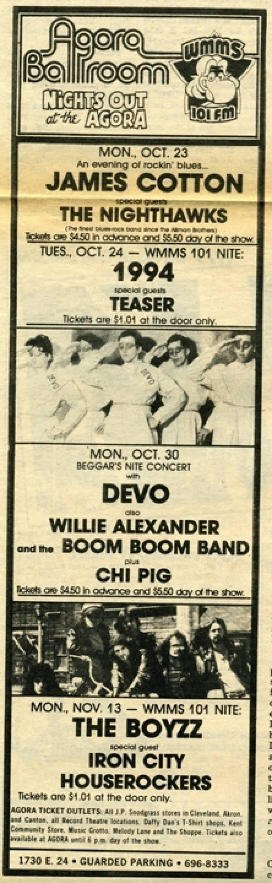 Agora Ballroom Show Advert 1978