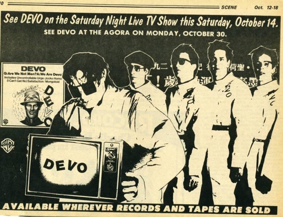 DEVO/SNL Advert in Scene Mag '78