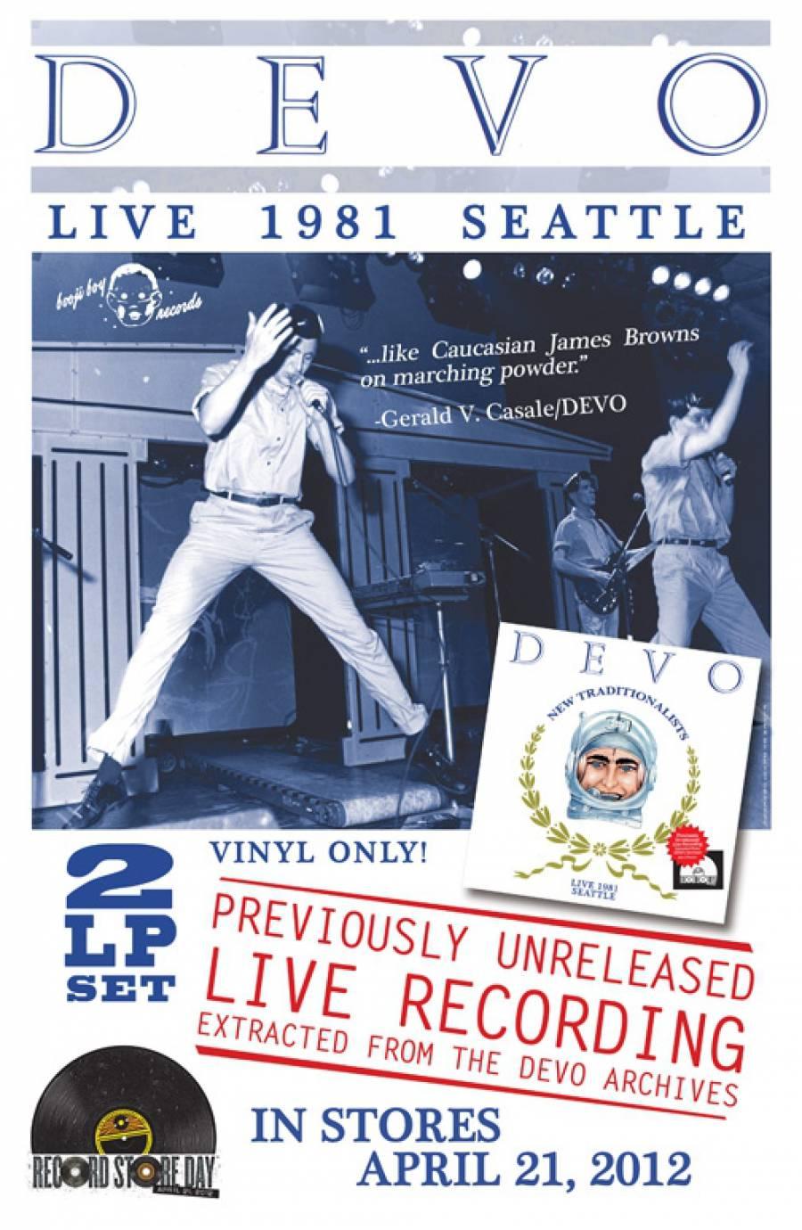 Flyer for DEVO Live 1981 Vinyl Release