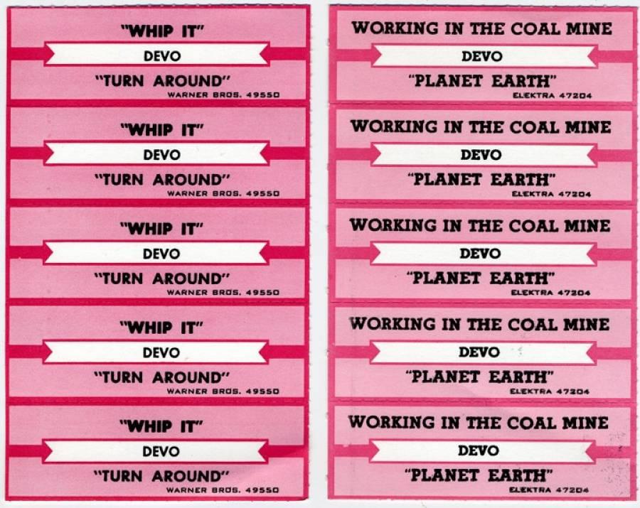 DEVO Jukebox Labels circa early 1980's