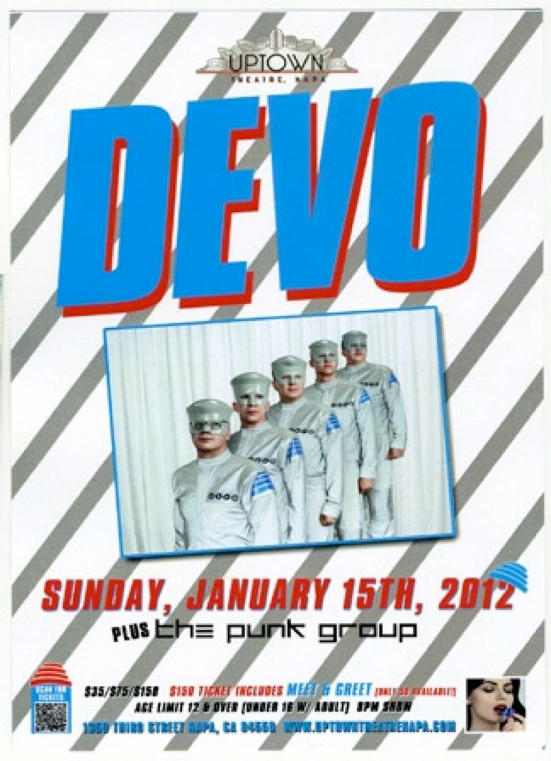 Next Flyer for DEVO Show in Napa, CA